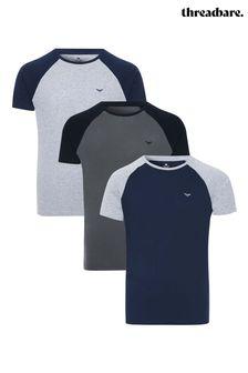 Threadbare 3 Pack Assorted Cotton Raglan T-Shirts