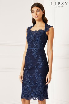 Lipsy Navy Embroidered Corset Bodycon Dress