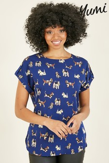 Yumi Dog Print 'Genevieve' Top In Recycled Fabric