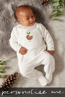 Personalised Christmas Pudding Sleepsuit by Little Years