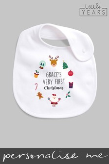 Personalised Christmas Icon Bib by Little Years