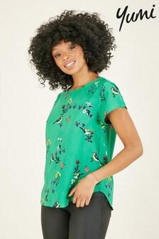 Yumi Madeline Bird Print Short Sleeve Top