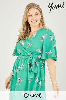 Yumi Curve Zebra Print 'Anisha' Wrap Midi Dress