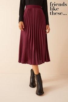 Friends Like These Satin Pleated Midi Skirt