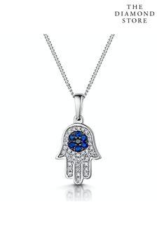 The Diamond Store Sapphire Black Diamond Hamsa Evil Eye Pendant Necklace 9K White Gold