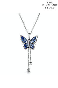 The Diamond Store Stellato Sapphire Diamond Butterfly Pendant Necklace 9K White Gold