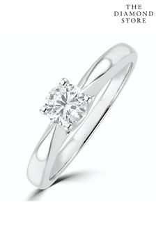 The Diamond Store Tapered Design Lab Diamond Engagement Ring 0.33ct H/Si 9K White Gold