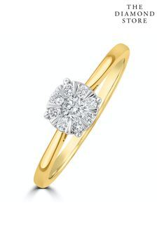 The Diamond Store 0.25ct Lab Diamond Cluster Solitaire Ring H/Si in 9K Gold
