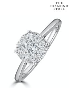 The Diamond Store 0.50ct Lab Diamond Cluster Solitaire Ring H/Si in 9K White Gold
