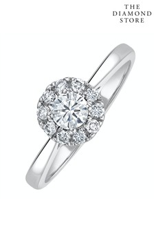 The Diamond Store Lab Diamond Halo Engagement Ring 0.50ct H/Si in 9K White Gold