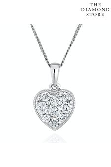 The Diamond Store Lab Diamond Pave Heart Pendant Necklace 0.50ct H/Si in 9K White Gold