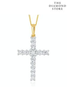 The Diamond Store Lab Diamond Cross Pendant Necklace Claw Set 0.50ct H/Si in 9K Gold