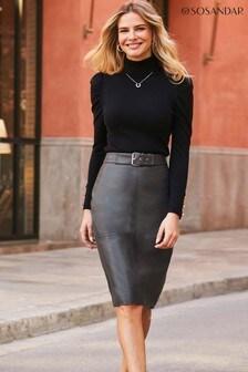 Sosandar Buckle Detail Pencil Skirt