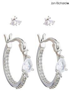Jon Richard Mixed Rhodium Stone And Hoop Multi Pack Earrings