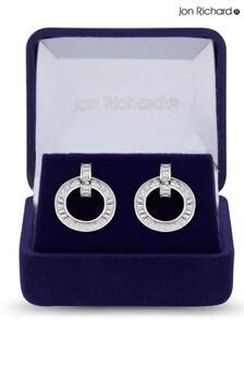 Jon Richard Rhodium Baguette Stone Cubic Zirconia Earrings