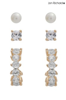Jon Richard Gold Plated Cubic Zirconia Hoop Pearl Earrings - Pack of 3