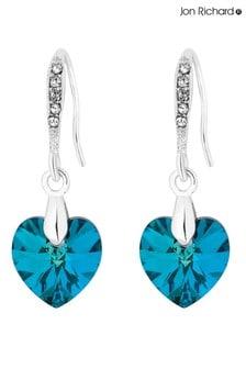 Jon Richard Plated Blue Heart Drop Earring