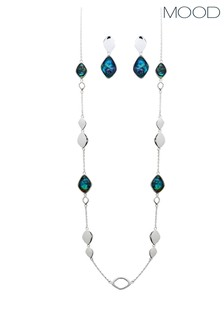 Mood Silver  Plated Blue Abalone Station Rope And Drop Set