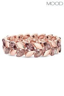 Mood Rose Gold Plated Pink Crystal Leaf Stretch Bracelet