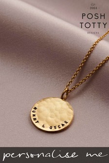 Personalised Curved Hammered Disc Necklace by Posh Totty Designs