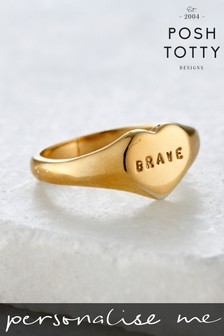 Personalised Handstamped Heart Signet Ring by Posh Totty Designs