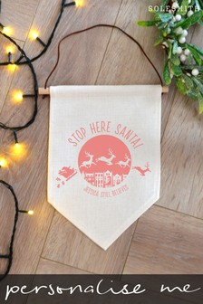 Personalised Stop Here Santa Banner by Solesmith