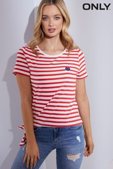 Only Brave Short Sleeve Knot Jersey Top