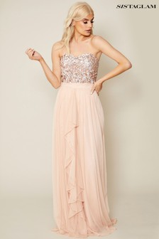 Sistaglam Sequin Chiffon Maxi Dress
