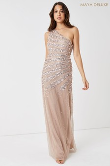 Maya Embellished One Shoulder Maxi Dress
