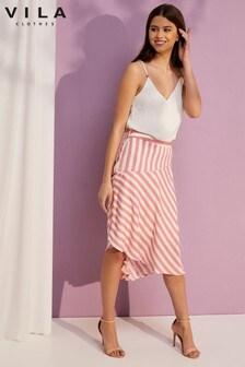Vila Striped Midi Skirt