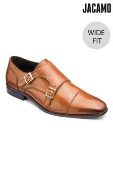 Jacamo Wide Fit Leather Double Monk Shoes