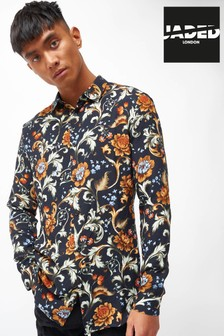 Jaded London Floral Baroque Print Long Sleeve Shirt