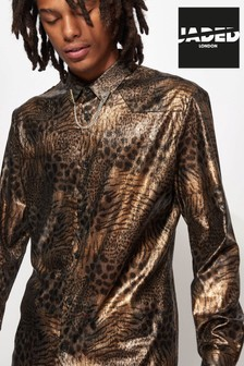 Jaded London Metallic Leopard Sheer Shirt