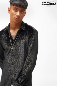 Jaded London Velvet Foil Print Shirt
