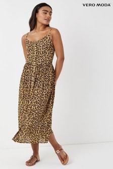 Sukienka midi Vero Moda z nadrukiem cętek