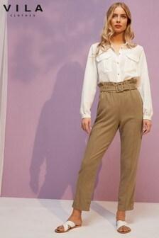 Vila Linen Rich Paperbag Trouser