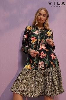 שמלת מידי עם שרוול ארוך של Vila
