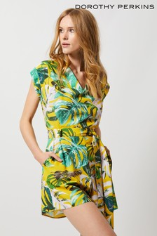 Dorothy Perkins Tropical Printed Wrap Playsuit