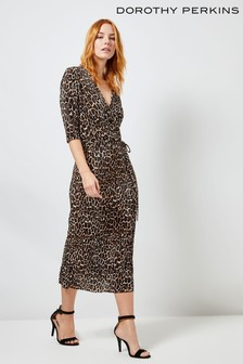 Dorothy Perkins Leopard Plisse Wrap Midi Dress