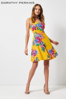 Dorothy Perkins Bright Floral Seamed Fit Flare Dress