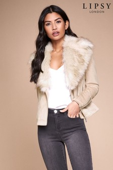 Lipsy Faux Fur Trim Biker Jacket