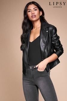 Lipsy Faux Leather Whipstitch Biker Jacket