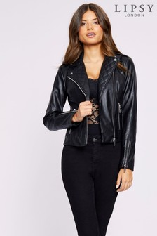 Lipsy Faux Leather Quilted Biker Jacket