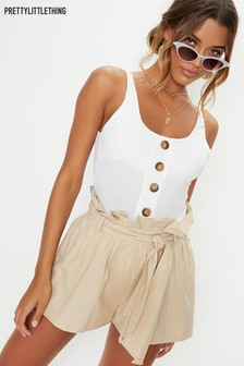PrettyLittleThing Strappy Rib Button Down Bodysuit
