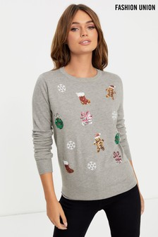 Fashion Union Sequin Xmas Jumper