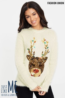 Fashion Union Fluffy Sequin Christmas Jumper