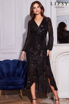 Lipsy VIP Sequin Wrap Frill Dress