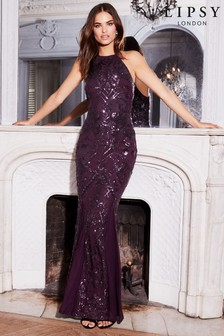 Lipsy VIP Sequin Halter Maxi Dress