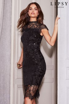 Lipsy VIP Eyelash Lace Sequin Scallop Midi