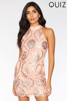 Quiz Mesh Embroidered High Neck Dress
